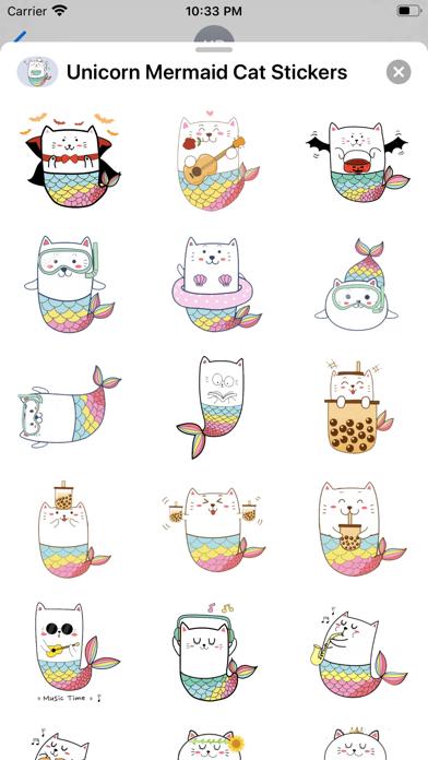 Unicorn Mermaid Cat Stickers screenshot 2