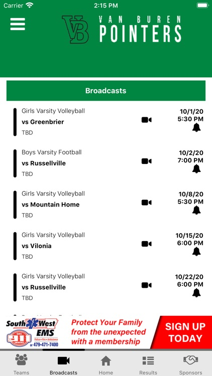 Van Buren Pointers Athletics screenshot-2