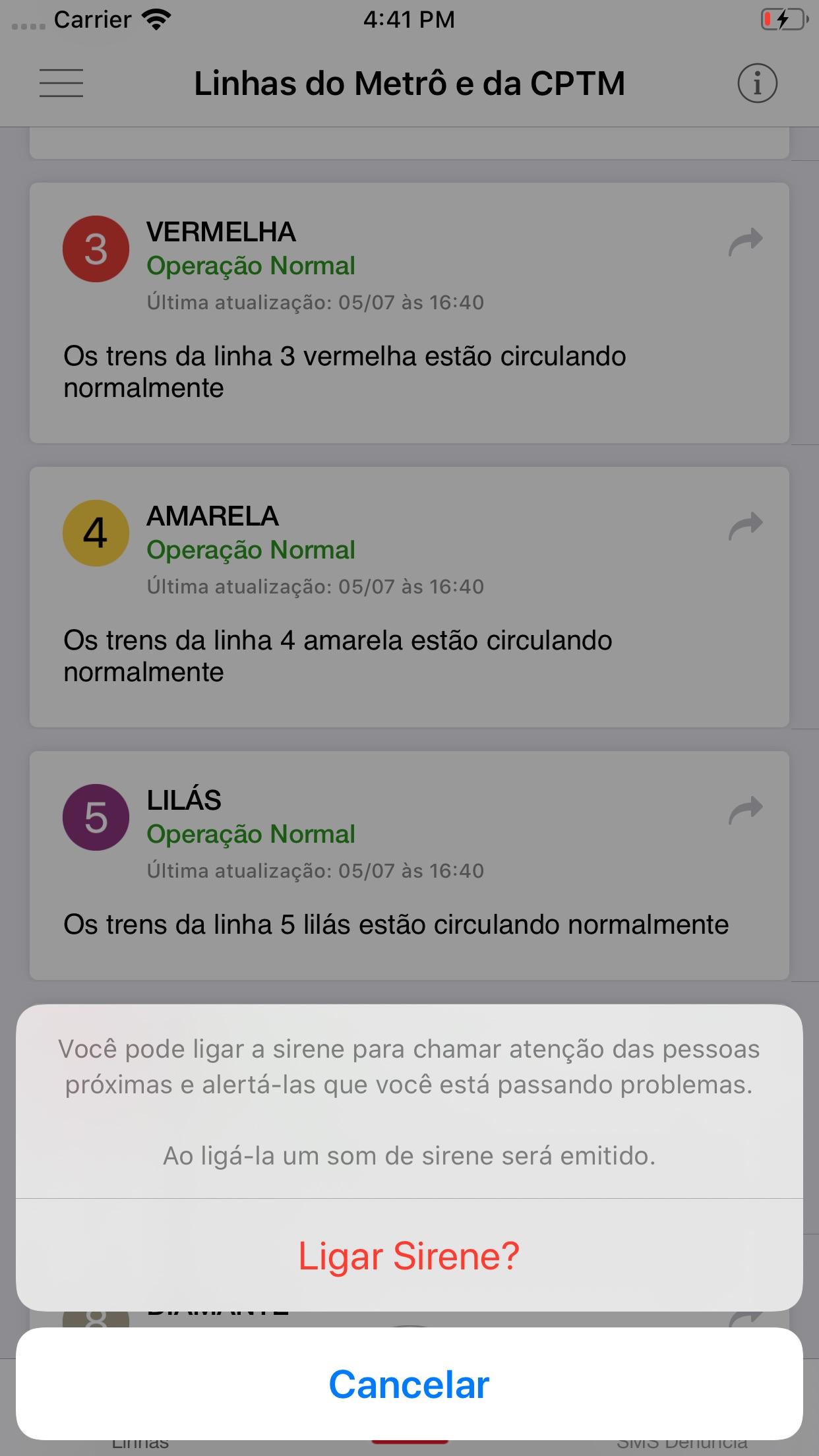 Screenshot do app Metro e CPTM Situação