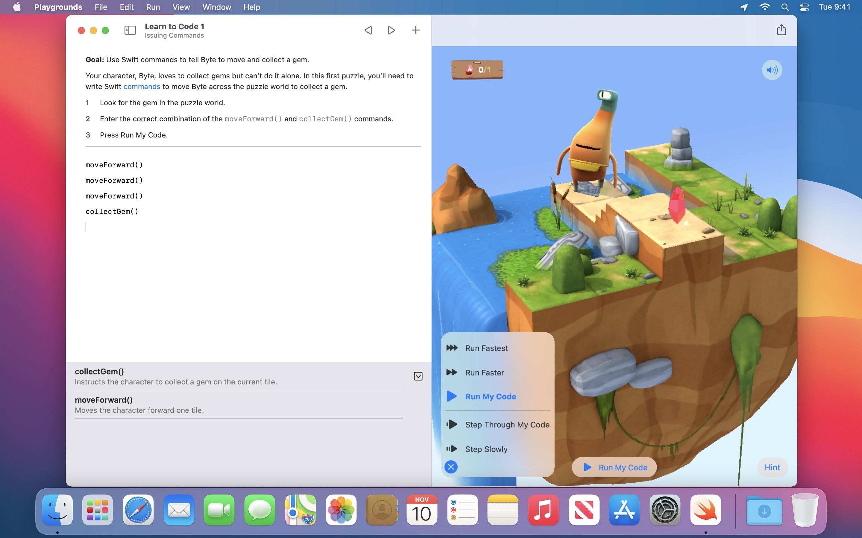 Screenshot do app Swift Playgrounds