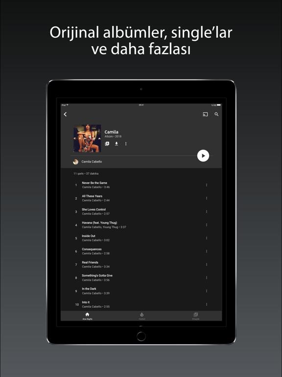 YouTube Music ipad ekran görüntüleri