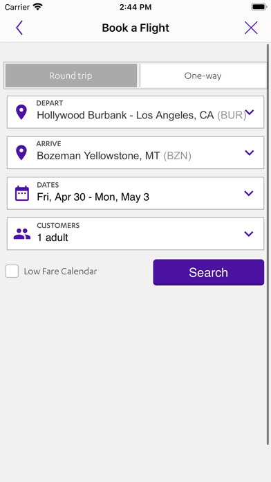 Screenshot of Avelo App