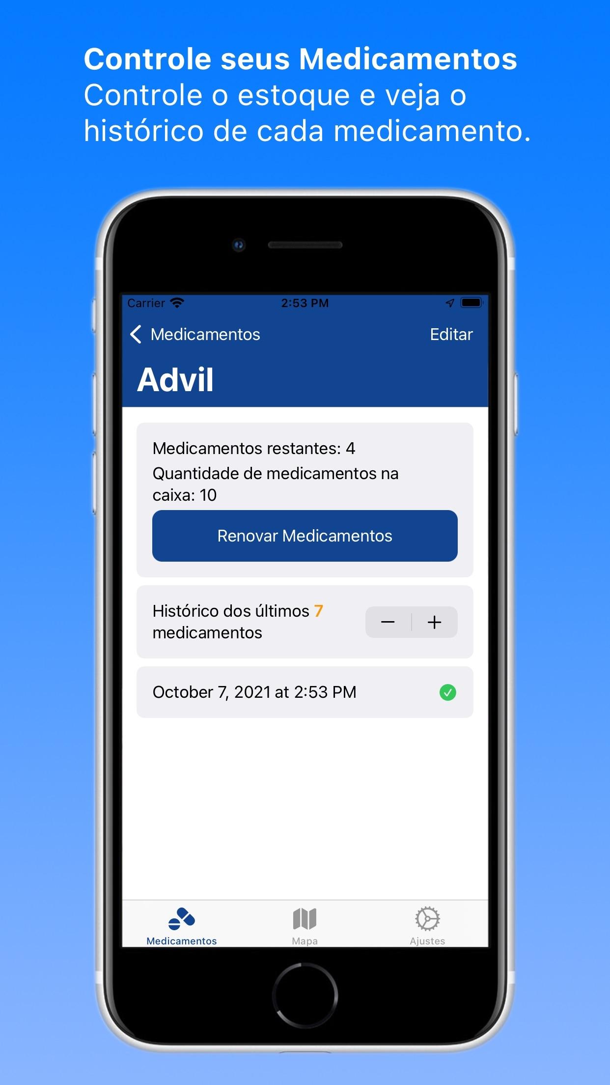 Screenshot do app meuMedicamento