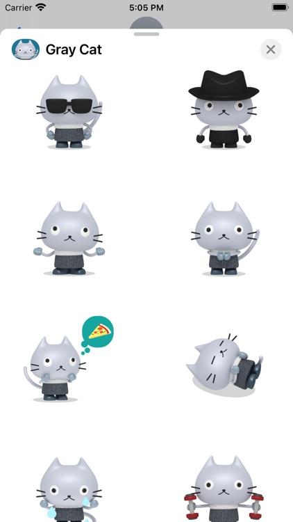 Gray Cat - Animated Stickers screenshot-3