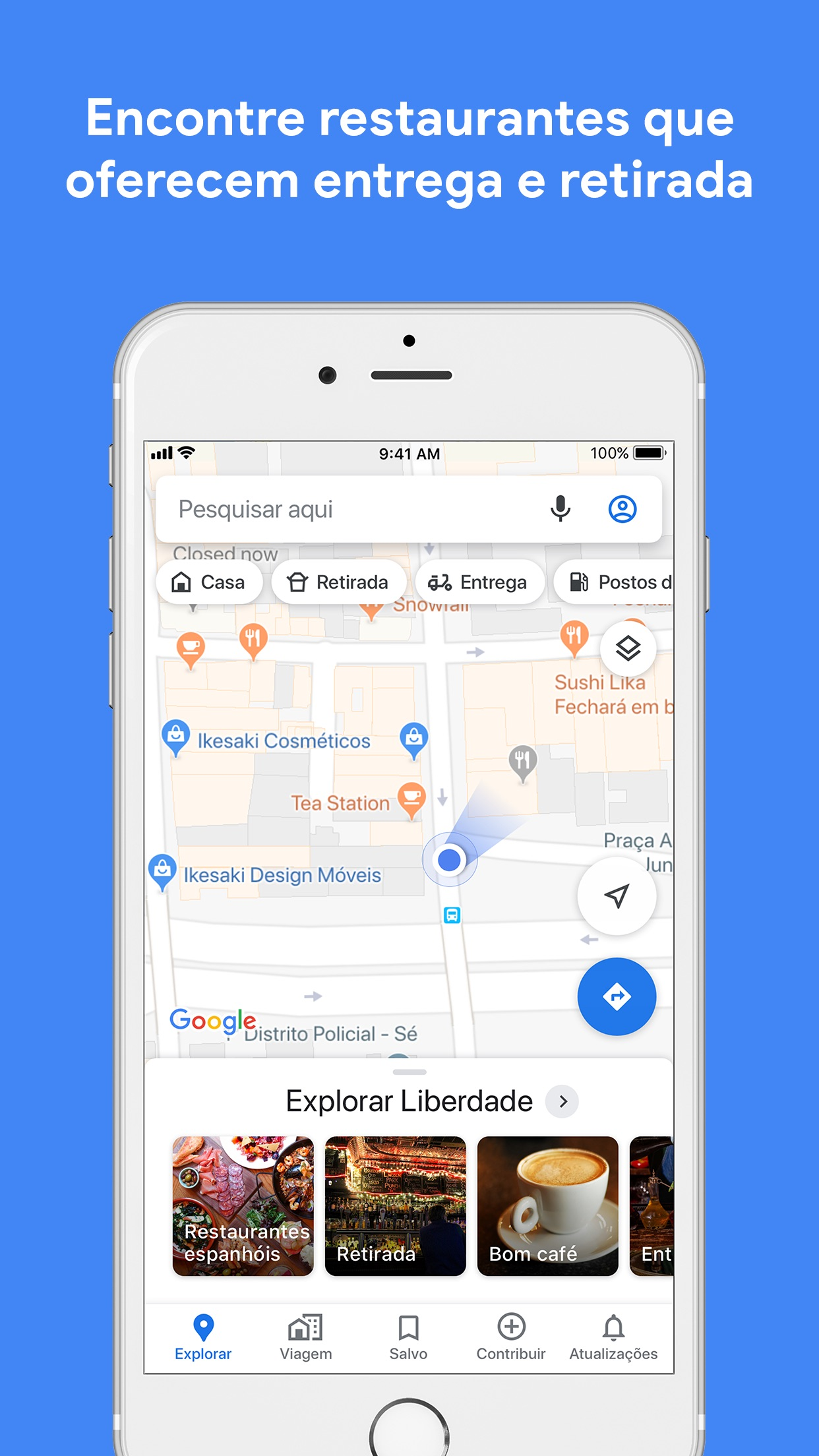 Screenshot do app Google Maps -trânsito & comida