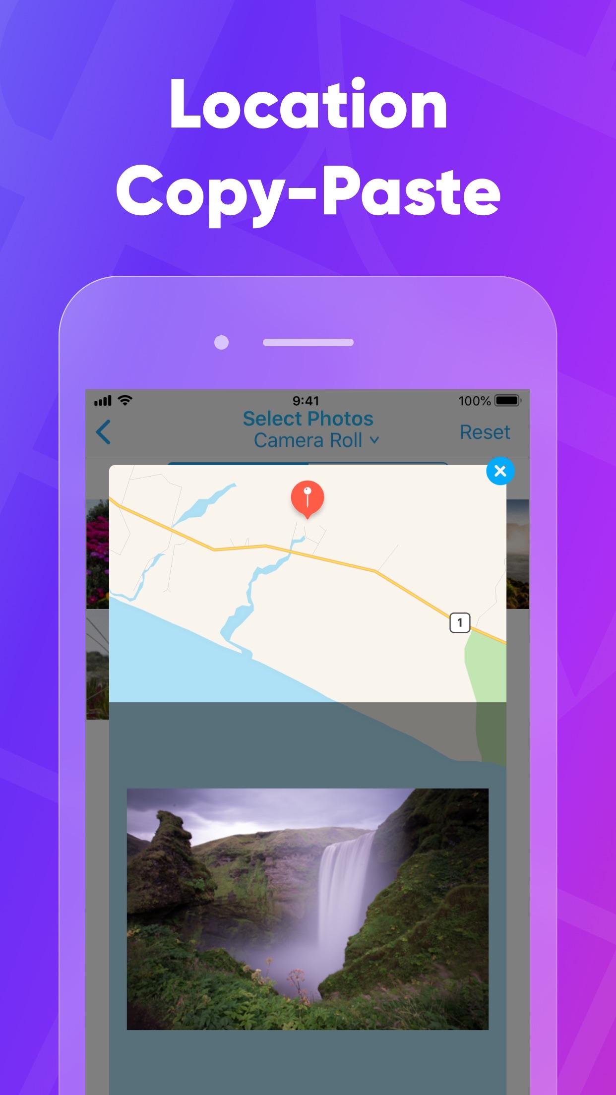 Screenshot do app PhotoMapper: Editor GPS EXIF
