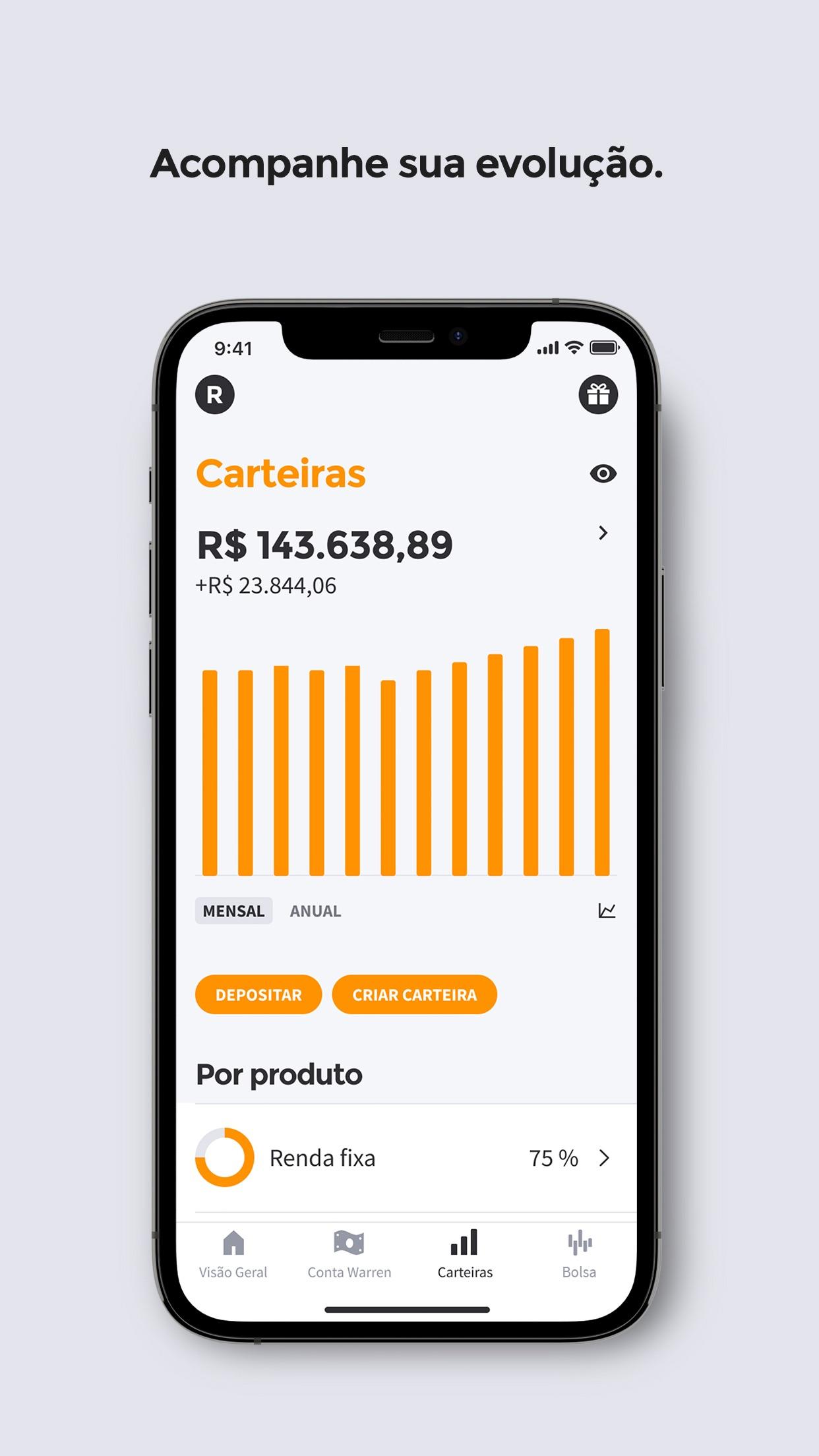 Screenshot do app Warren