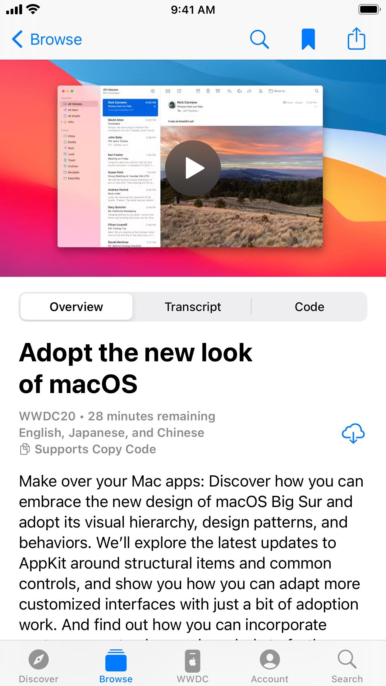 Screenshot do app Apple Developer