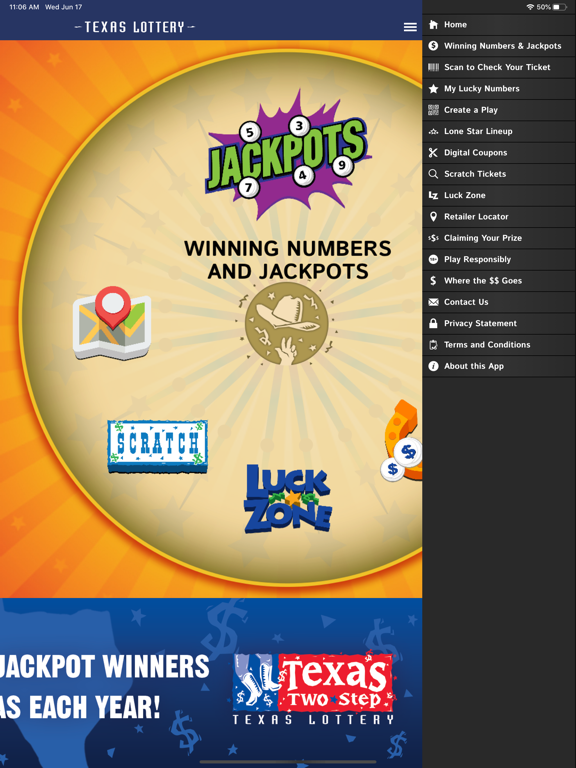 iPad Image of Texas Lottery Official App