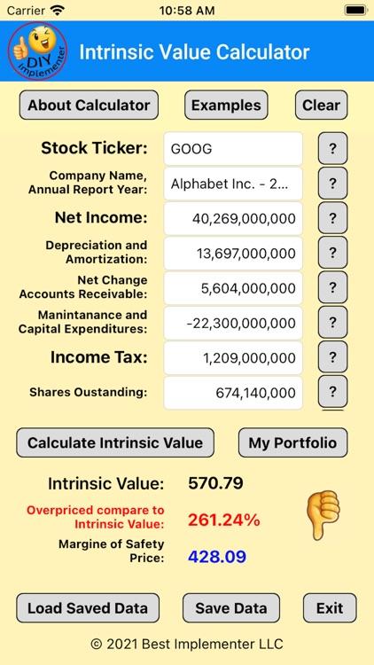 Intrinsic Value Calculator DIY screenshot-9