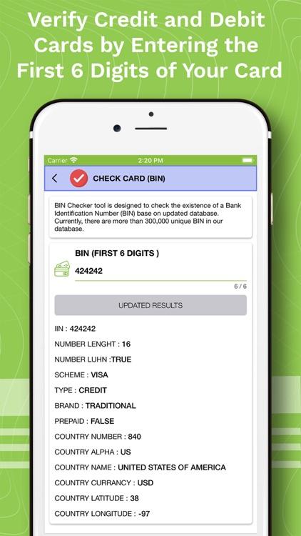 Verify Bank Cards & Check BIN
