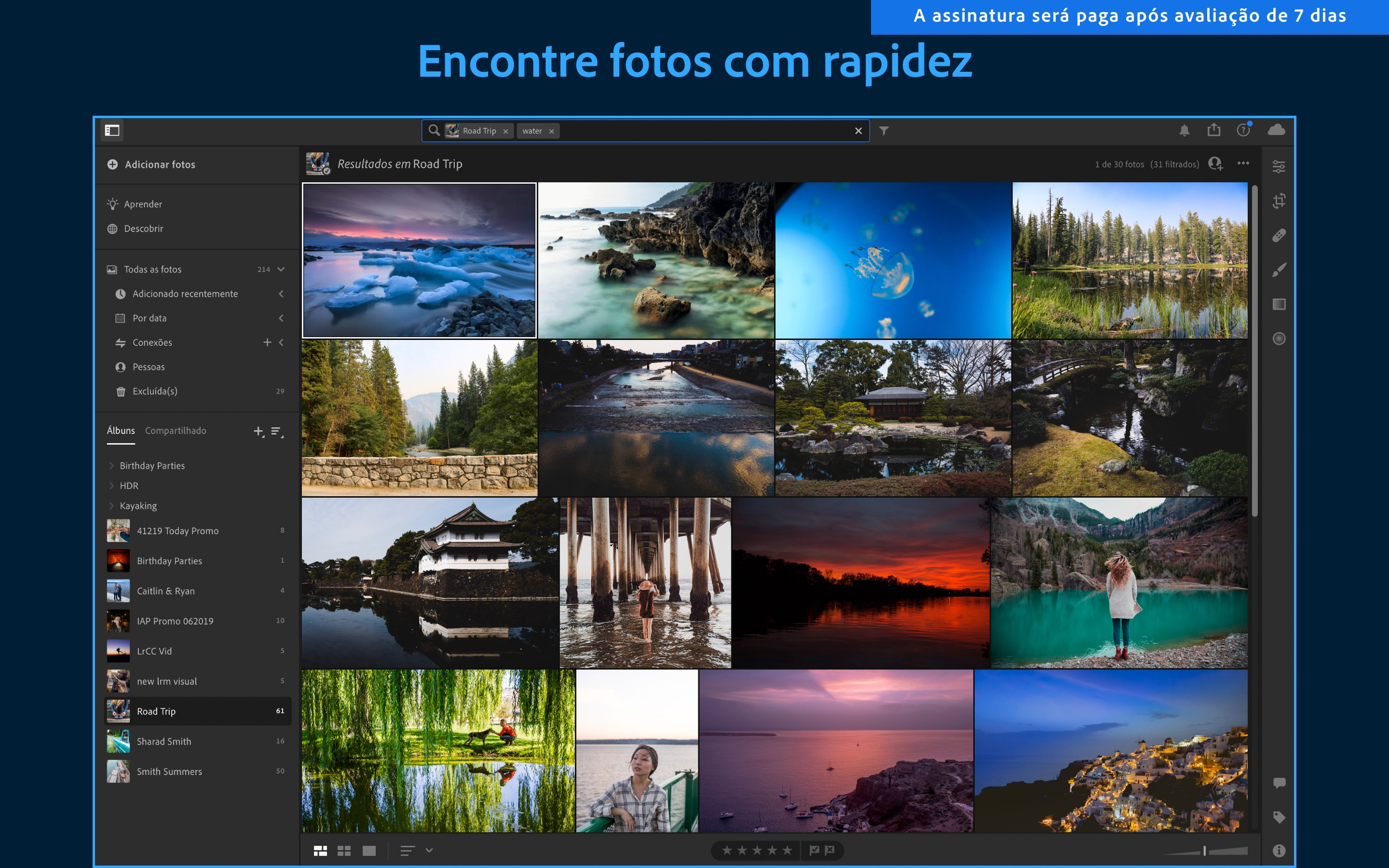 Screenshot do app Adobe Lightroom