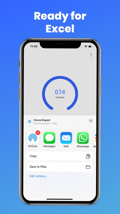 Export contacts by Covve