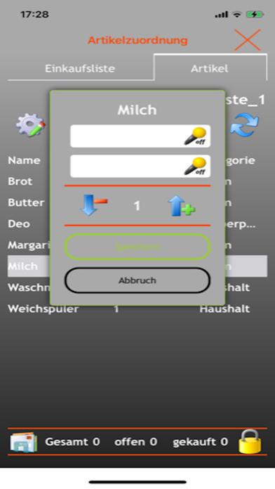 Screenshot of EniShoppingList App