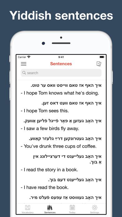 Yiddish vocabulary & sentences screenshot 6