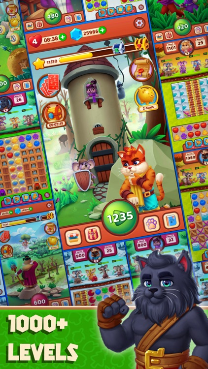 Cat Heroes - Match Puzzle Game screenshot-4