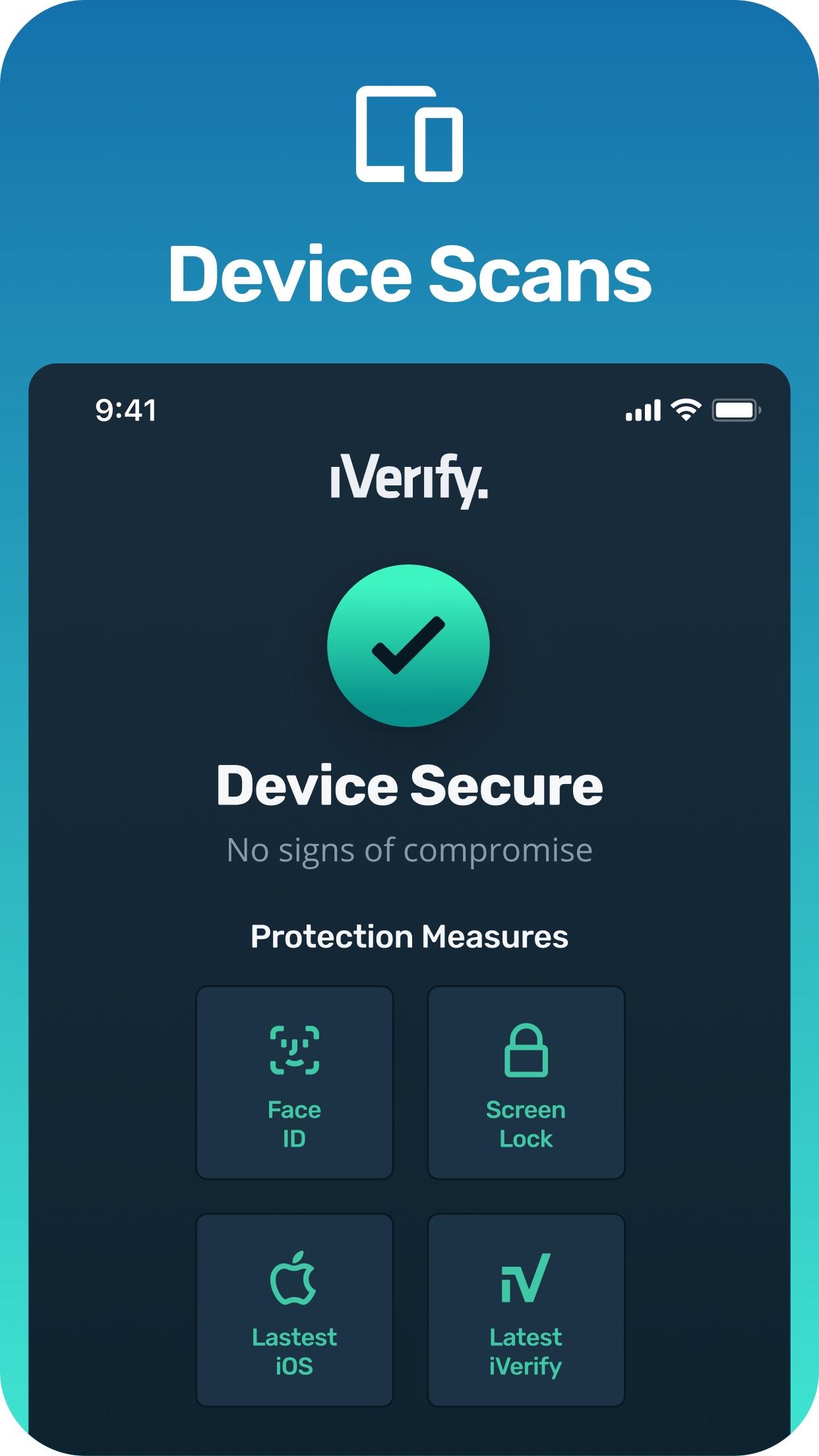 Screenshot do app iVerify. - Secure your Phone!