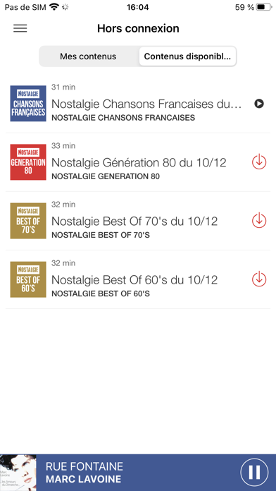 messages.download Nostalgie Radio software