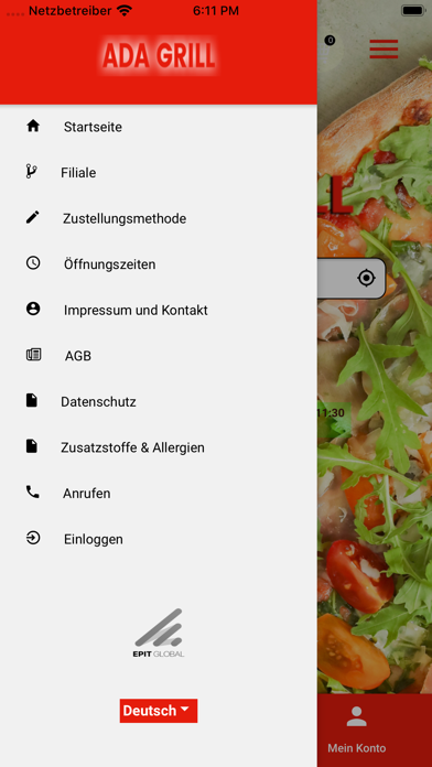 Screenshot of Ada Grill App