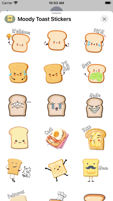 Moody Toast Stickers screenshot 3